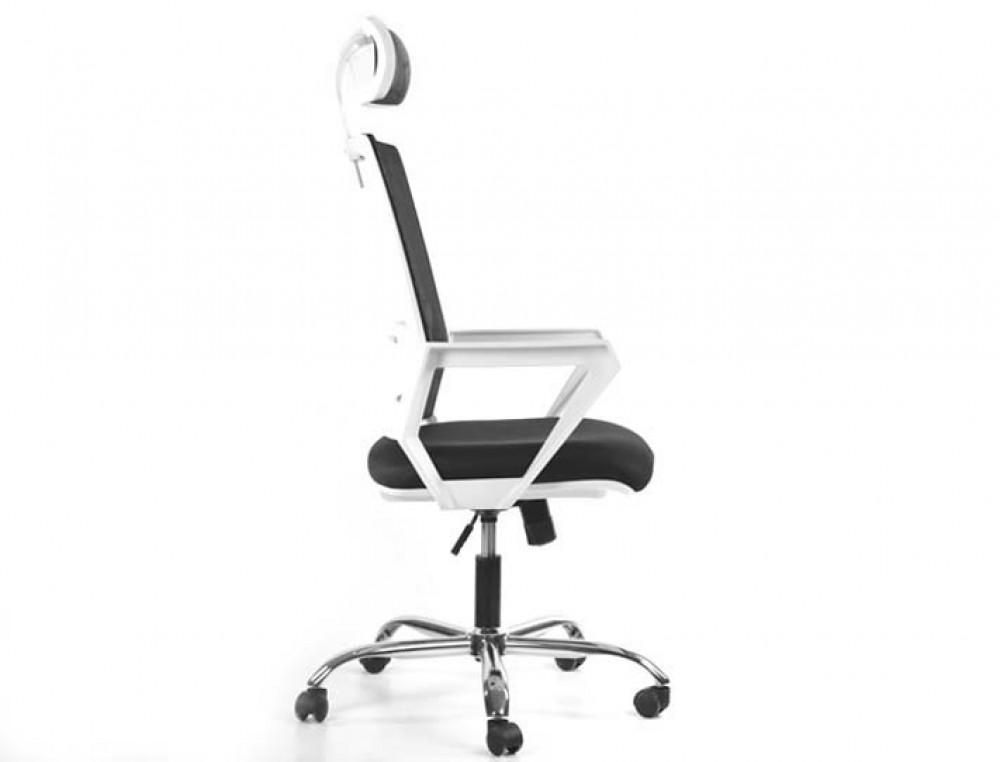 594-كرسي مكتب ايكيدا  شبك متحرك دوار مع مسند للرأس  بإطار أبيض