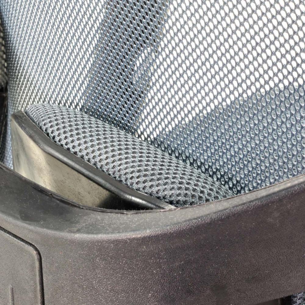 589-كرسي مكتب متحرك دوار شبك  مع مسند للرأس  من إلـ ميش الرمادي غامق