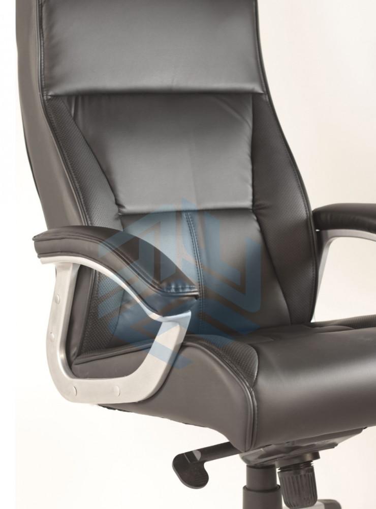 451- كرسي دوار ظهر طويل متحرك من الجلد الأسود