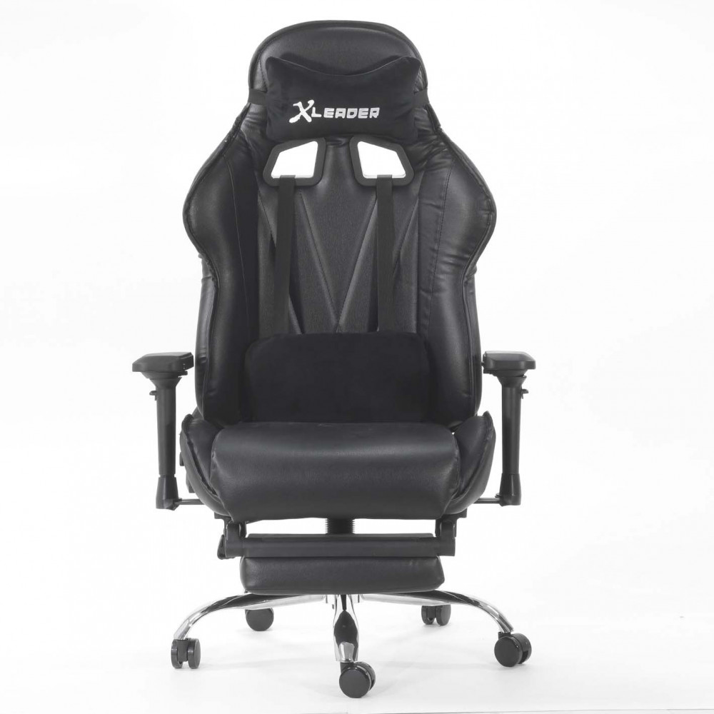 554-كرسي ألعاب قيمنق ليدر من الجلد الأسود