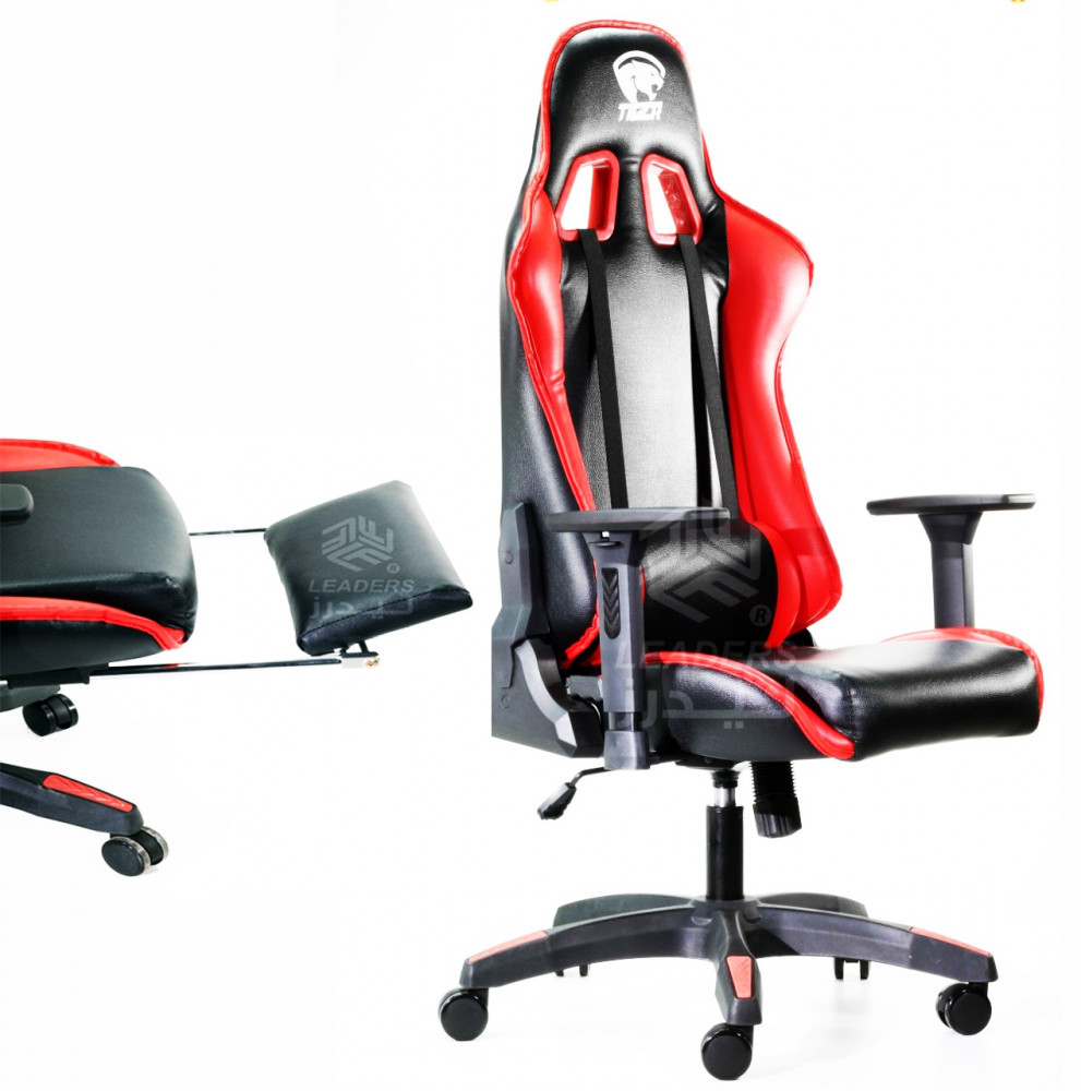 623-كرسي قيمنق تايجر من الجلد الأحمر X الأسود