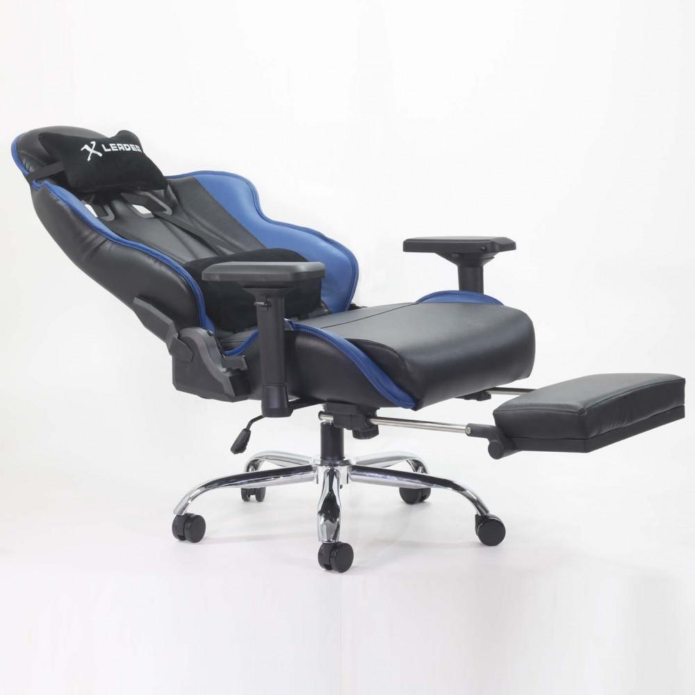 567-كرسي ألعاب قيمنق ليدر من الجلد الأسود X الأزرق