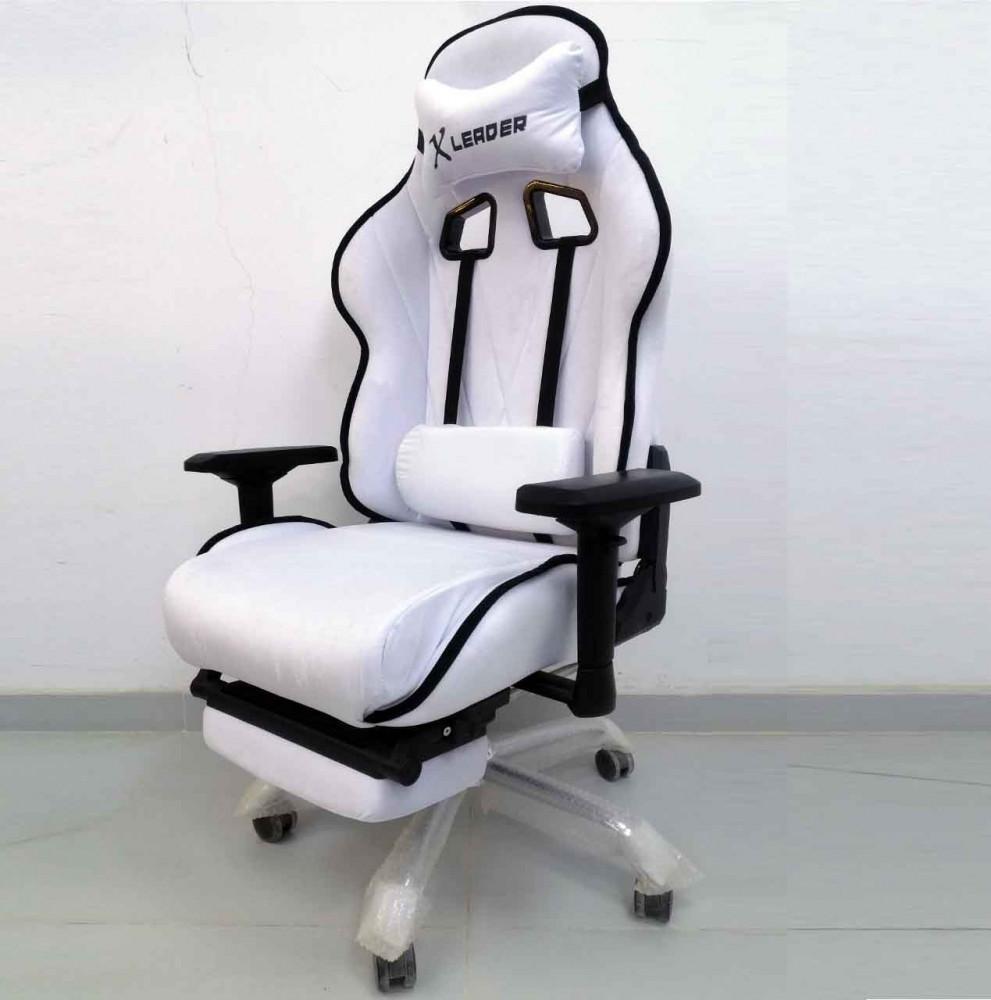 610-كرسي ألعاب قيمنق ليدر  أبيض X أسود مخملي شامواه