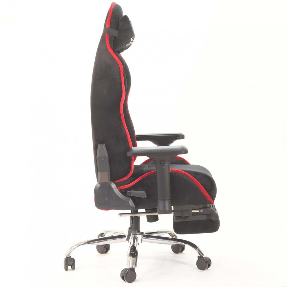517-كرسي ألعاب قيمنق ليدر  أسود X أحمر مخملي شامواه