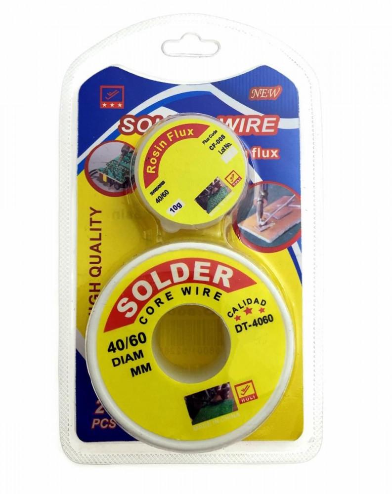 سلك لحام رصاص  قصدير 40-60 مقاس 1 ملليمتر مع شحم اللحام المذاب