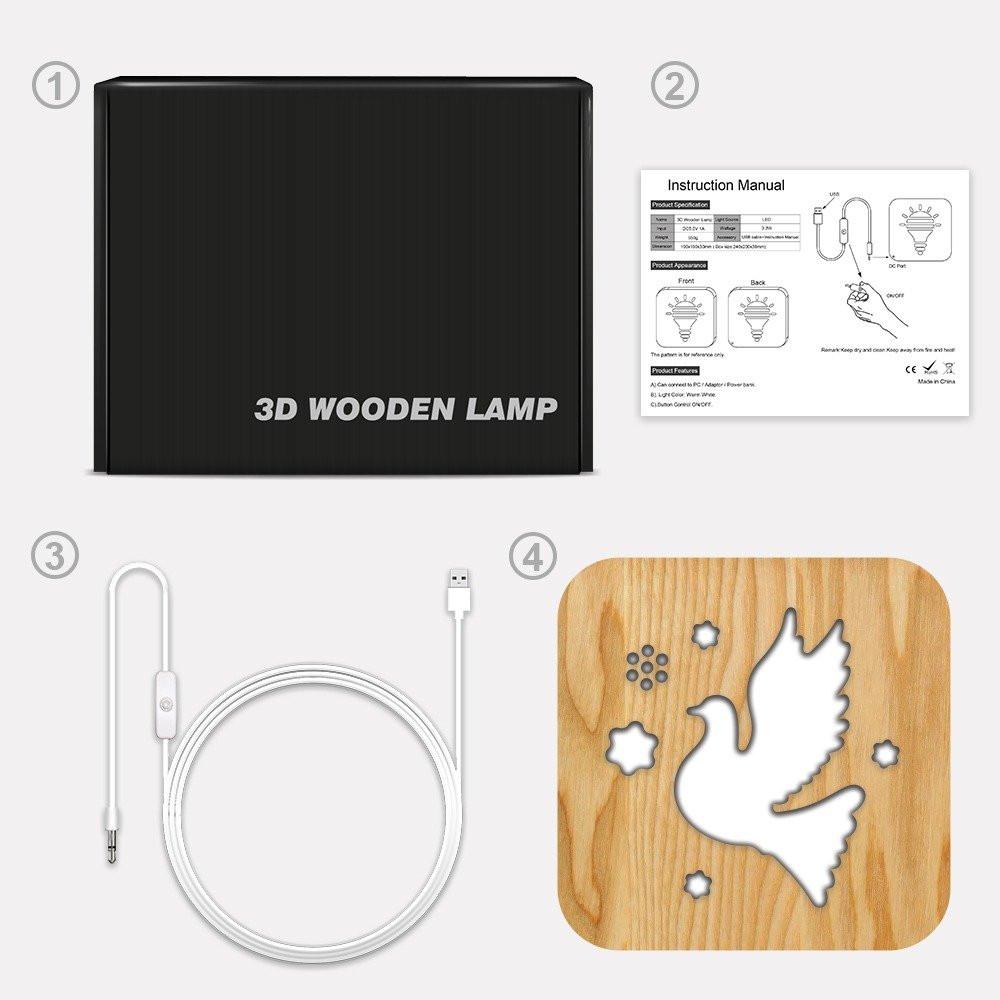 مواسم تحفة فنية مضيئة خشبية شكل الطائر طريقة تركيب القطعة والإضاءة