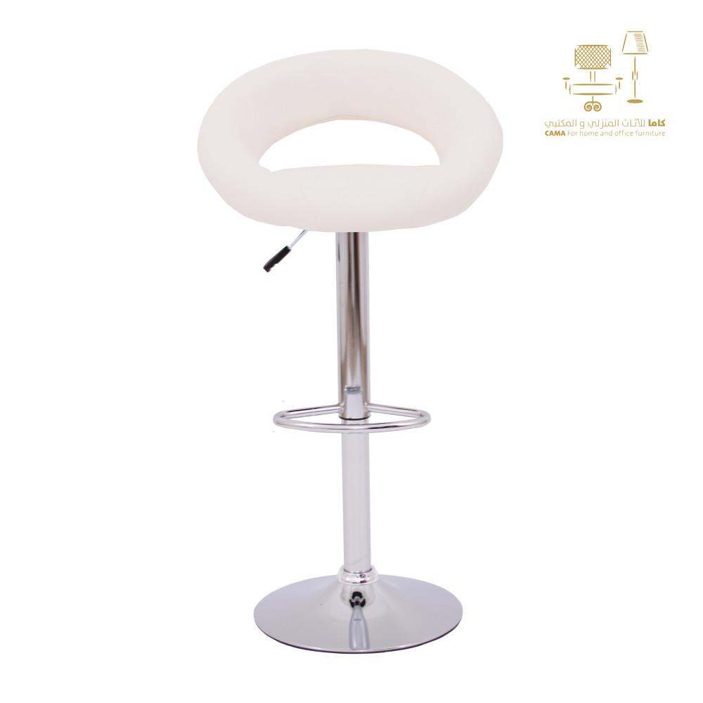 كرسي بار جلد ابيض C-B05AWHITE1