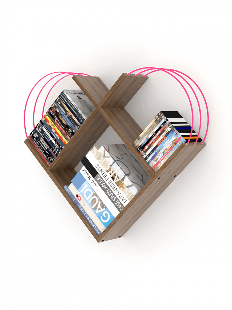 أفخم مكتبات الكتب خزانة كتب صغيرة لون البني بقضبان زهرية شكل عصري أنيق