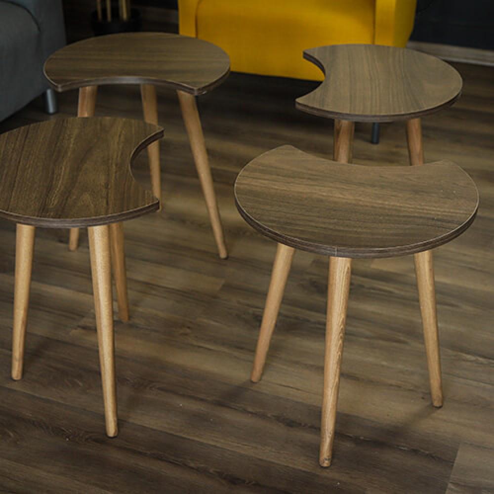 صور اثاث منزلي طاولات قهوه  مودرن طاولة قهوة خشب بني 4 قطع موديل تروفا