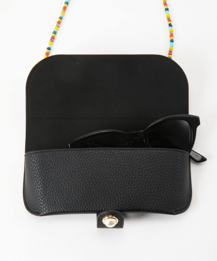 Iphoria Glasses Case Classic Black with Colorful Glass Pearls