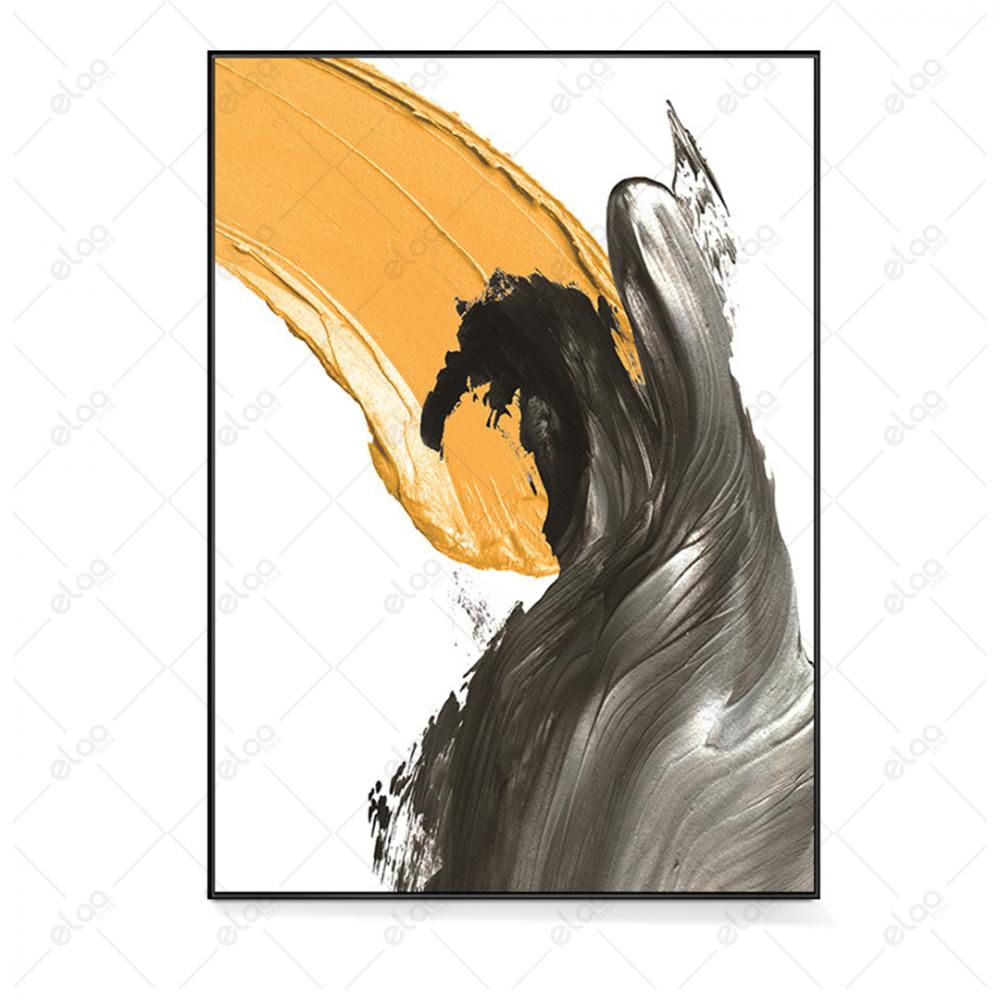 فن تجريدي دهان درجات الرمادي والاصفر