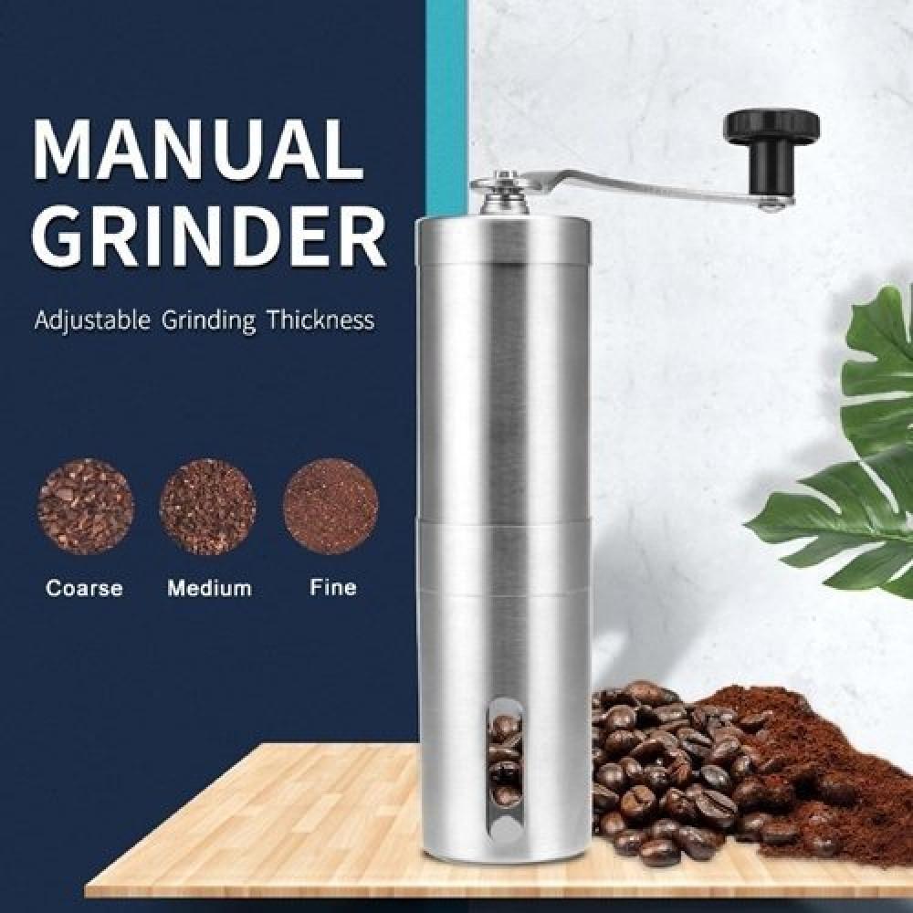 مطحنة قهوة يدوية لون فضي متجر كوفي كلاود محامص ادوات تحضير القهوة