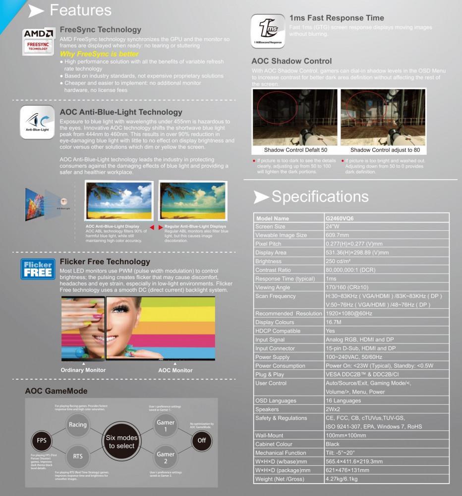 AOC 24 Widescreen Monitor