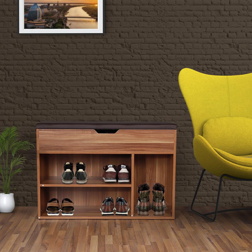 منظم أحذية جزامة خشبية بمقعد ووحدة تخزين موديل ديجون
