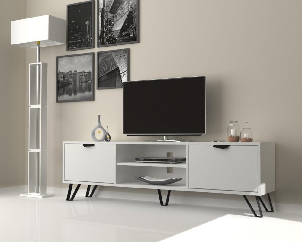 مواسم طاولة تلفاز أنيقة متعددة الاستخدام بأرجل معدنية سوداء