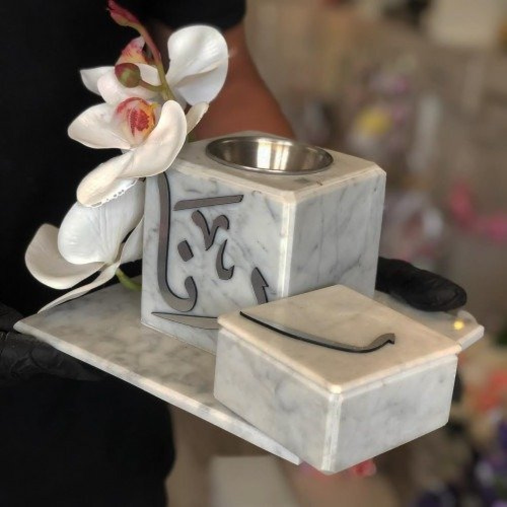 مبخرة رخام صناعي اكريليك بالاسم تصمم على الطلب