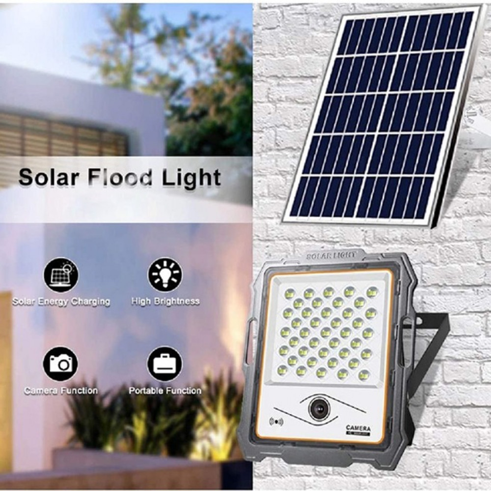 كشاف الطاقة الشمسية والتحكم عن بعد مع كاميرا مراقبة HD 1080