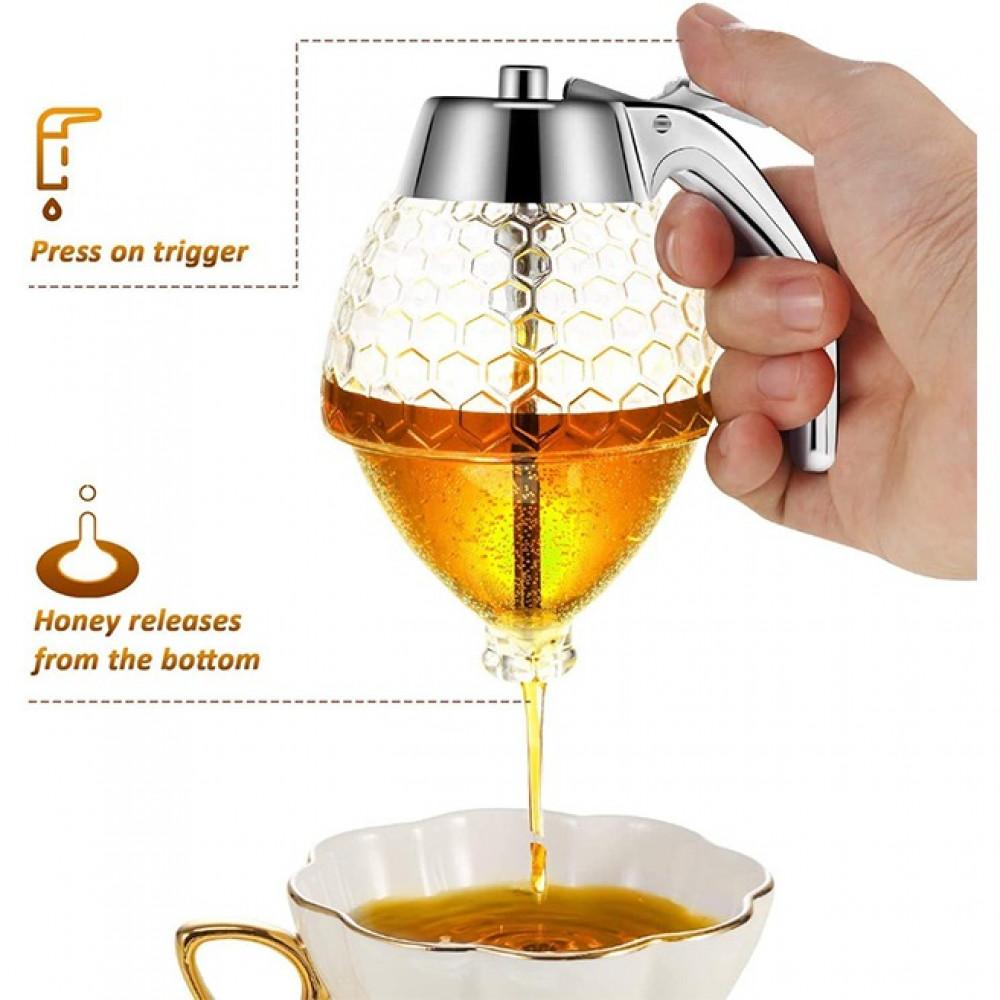 موزع العسل و الشيرة الشفاف وعاء موزع شراب أكريليك زجاجة ضغط لتوزيع الع