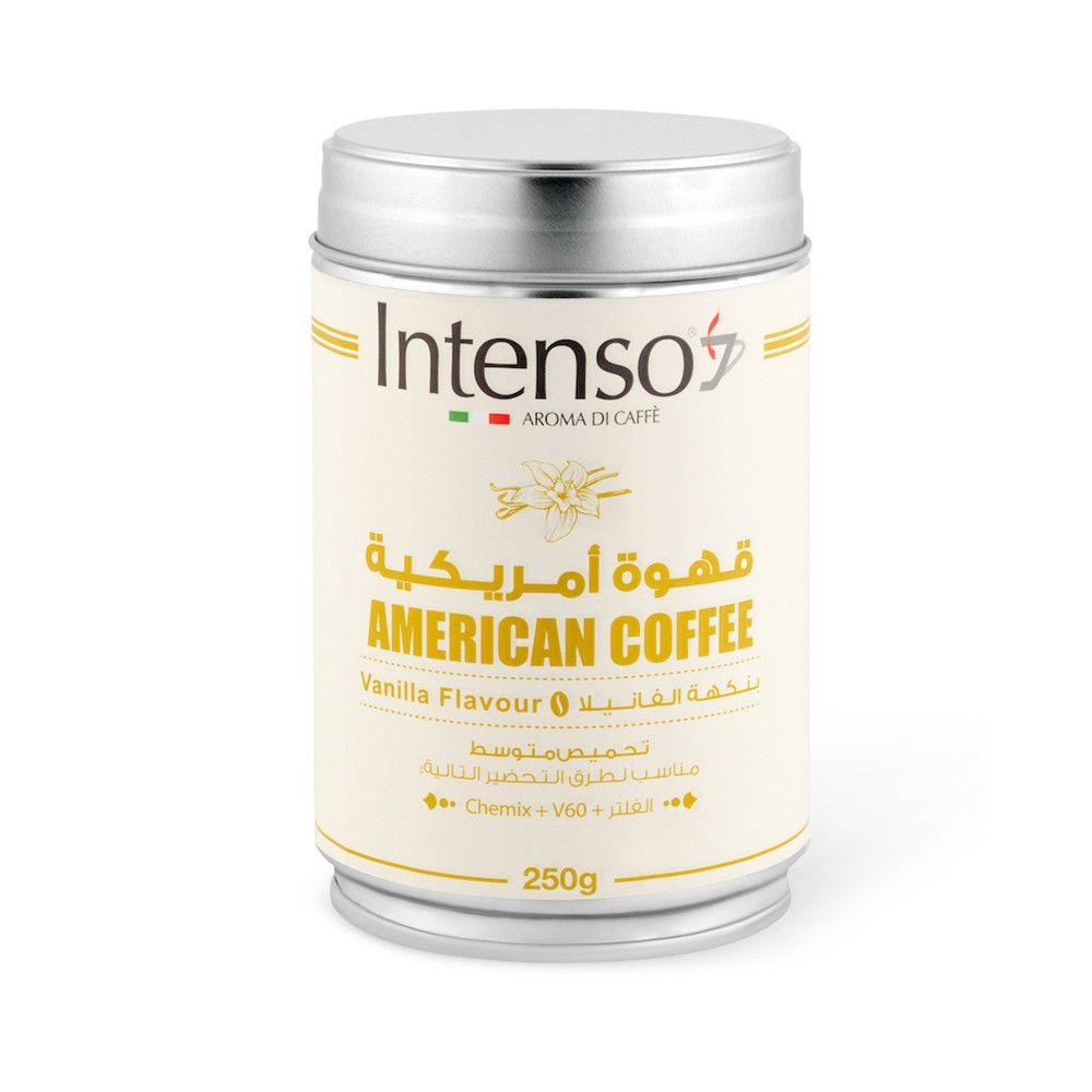 قهوة امريكية مطحونة انتينسو بنكهة الفانيلا تحميص وسط