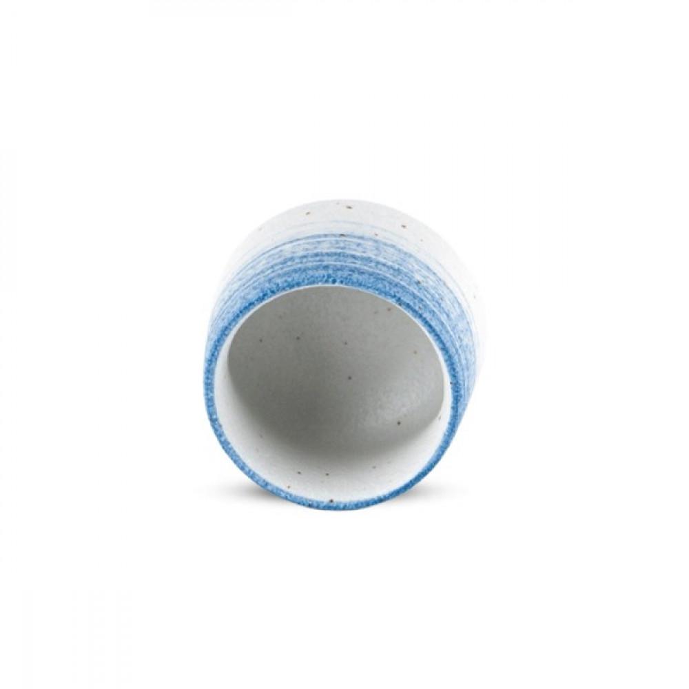 كوب سيراميك ابيض ازرق بنقط بني 190 مل