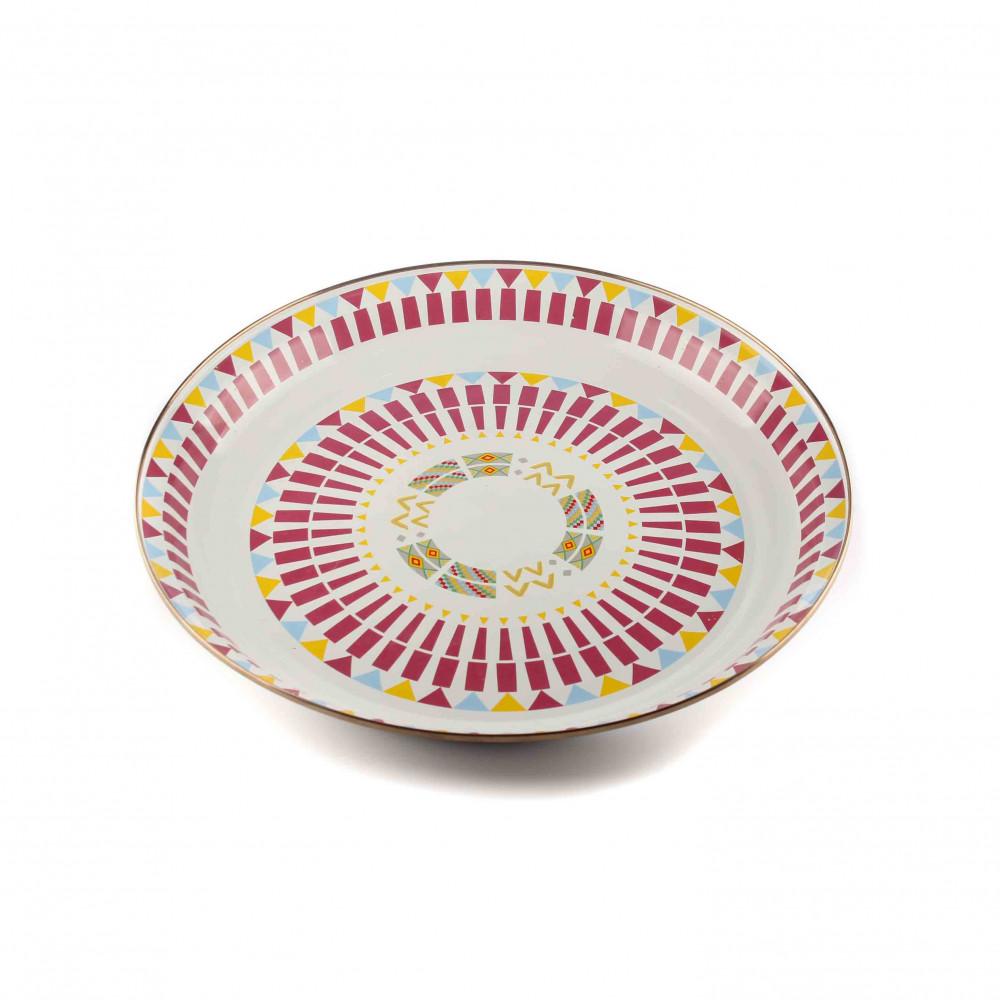 طبق - صينية فطور مقاس 45 سم -نقش عسيري