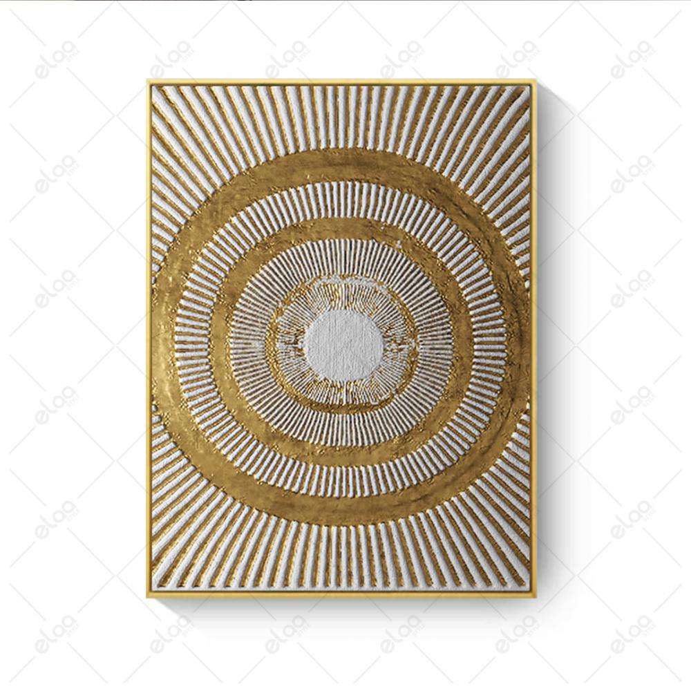 فن تجريدي دوائر ذهبية وخطوط بيضاء