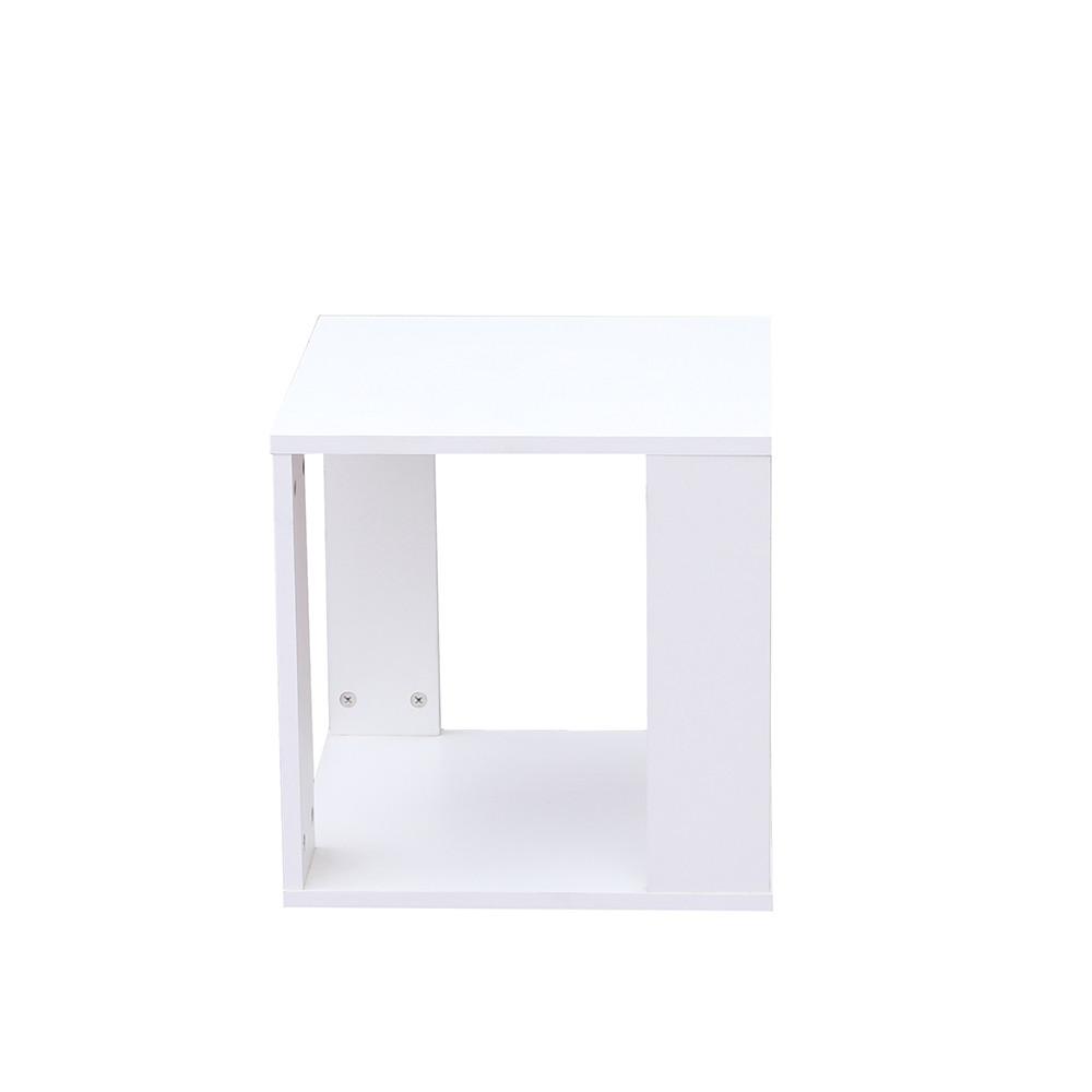 صور طاولة جانبية موديل رماس خشب أبيض على شكل صندوق مكعب مع رف