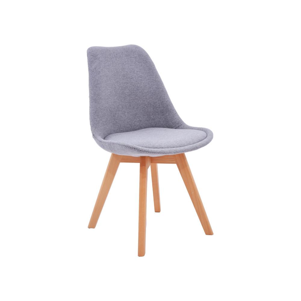 كرسي كاما فيبر رمادي مبطن ارجل خشب C-D-821B GRAY