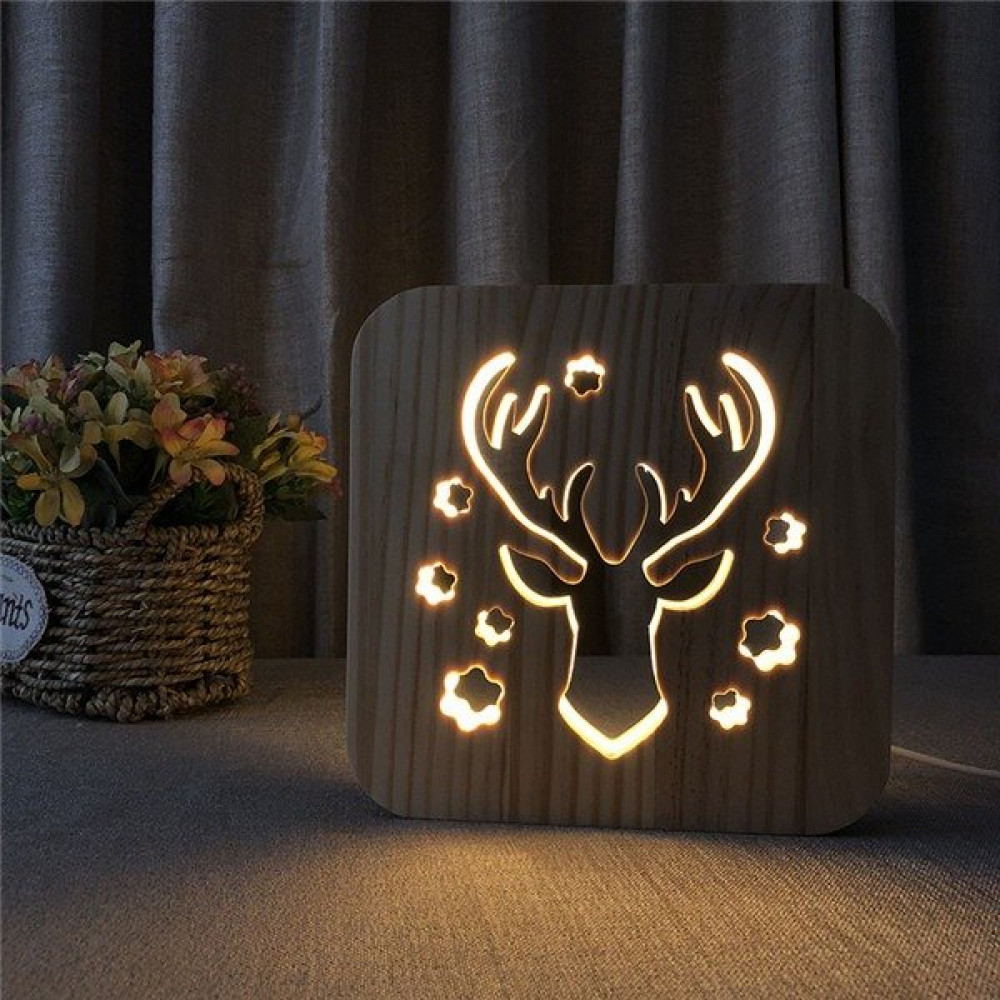 مواسم تحفة فنية مضيئة إضاءة ليد مصنوعة من الخشب باللون الخشبي