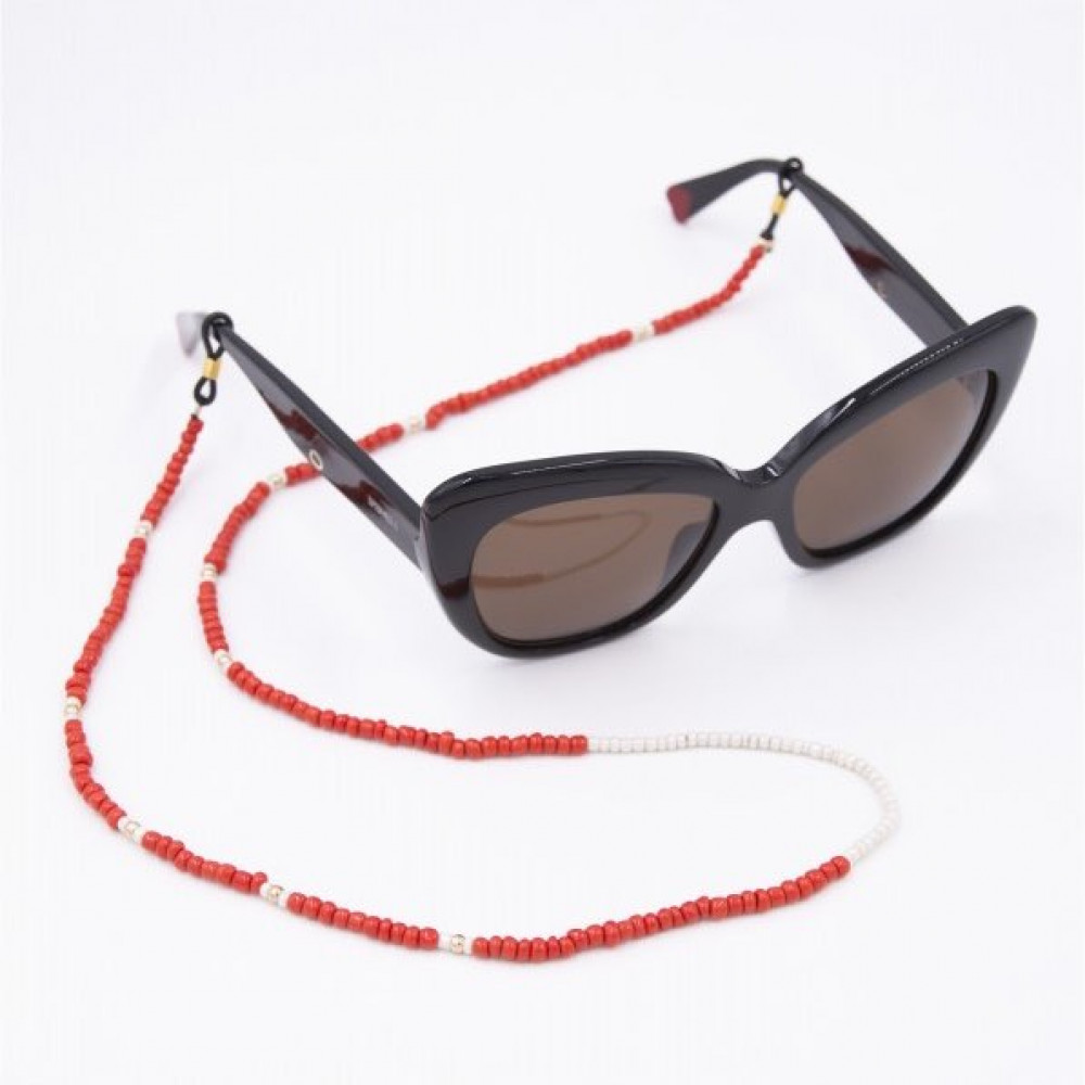 Glasses Strap Pearls Red with White iphoria