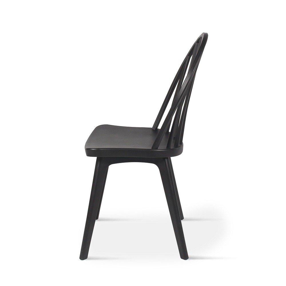 زاوية جانبية لرؤية الكرسي الرائع من مواسم طقم كراسي أسود من البلاستيك