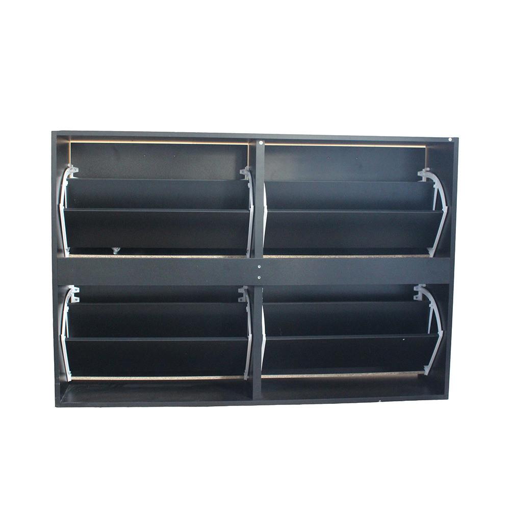 منظم أحذية موديل اورجانك جزامة لون أسود خشب من طبقتين و 4 أدراج واسعة