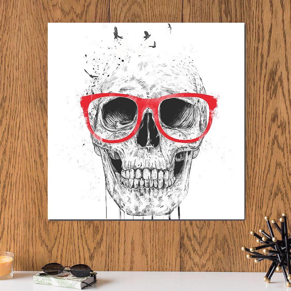 لوحة جمجمة خشب ام دي اف مقاس 30x30 سنتيمتر