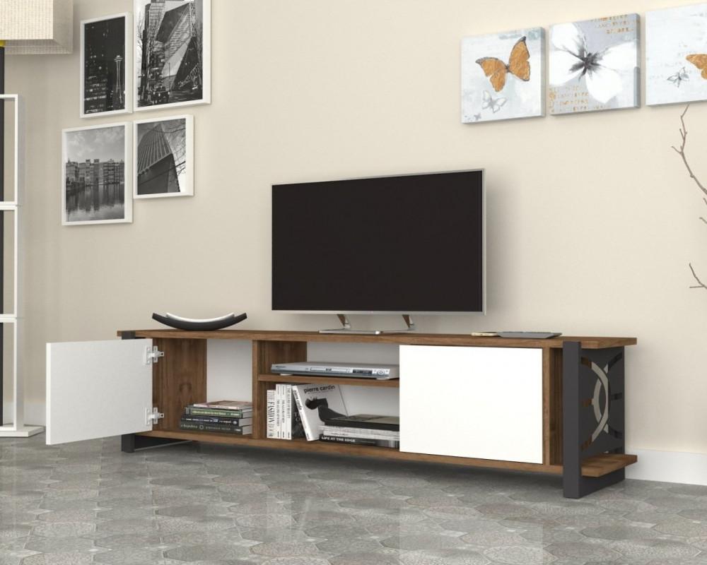 مواسم طاولة تلفاز بالألوان العصرية مصنوعة من الخشب بأرجل معدنية