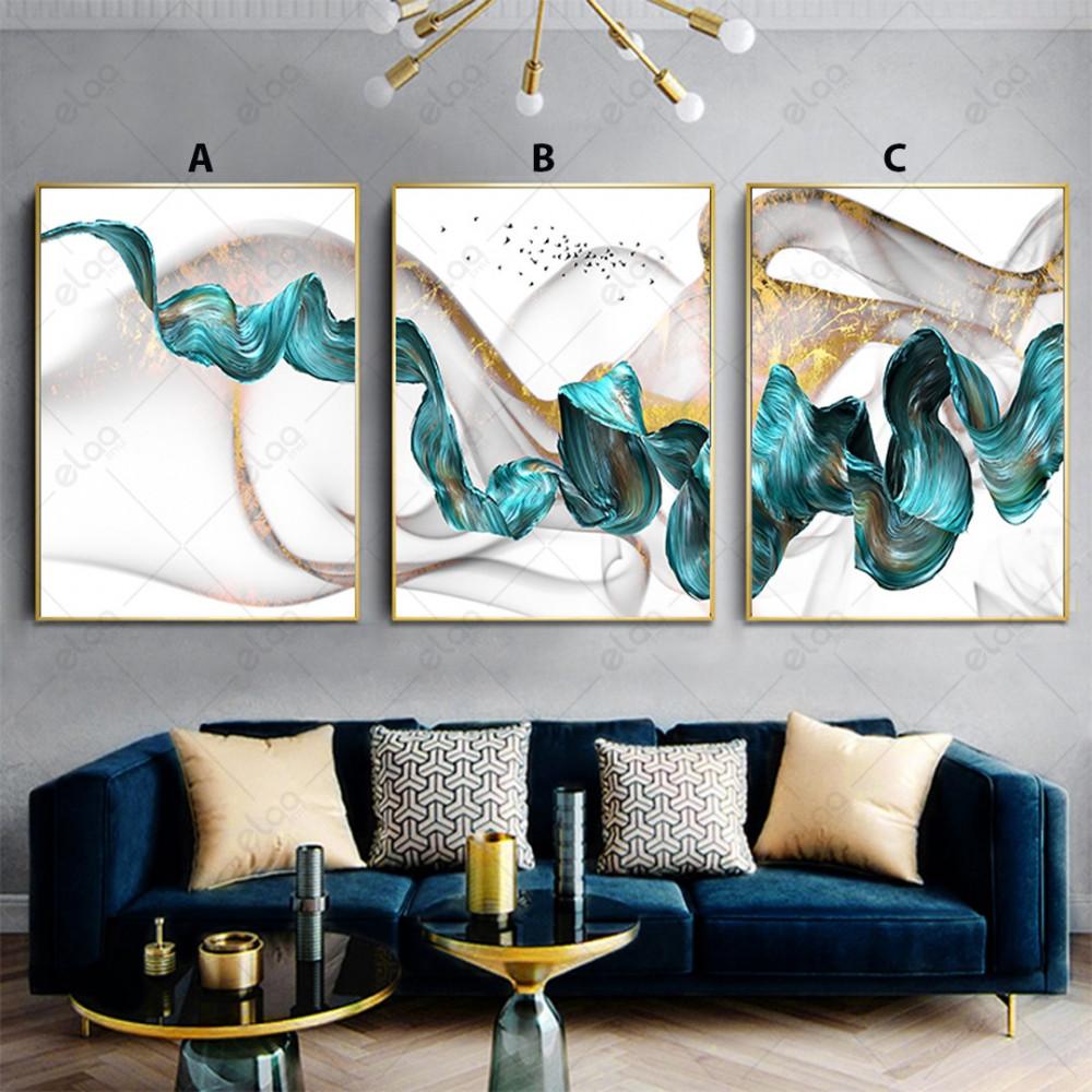 لوحات فن تجريدي تموجات للون الفيروزي والذهبي والأبيض