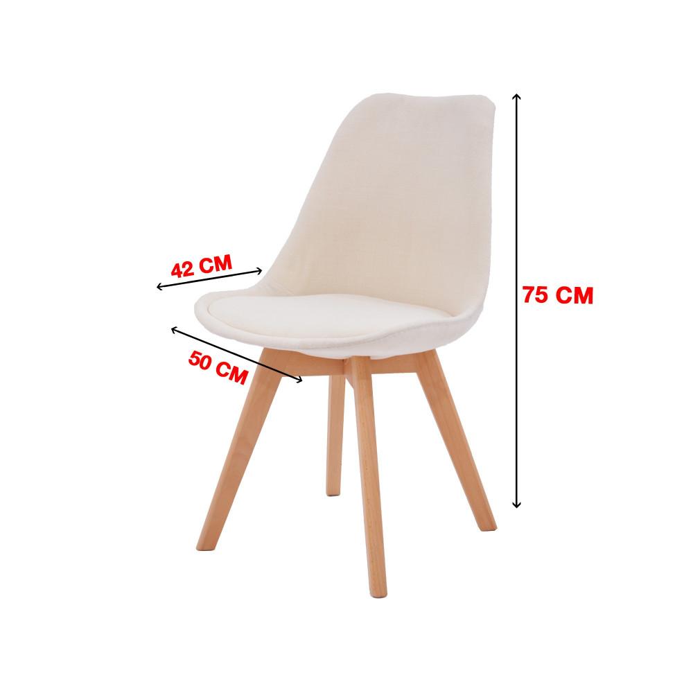 كرسي كاما فيبر سكري مبطن ارجل خشب C-D-821B WHITE Beige