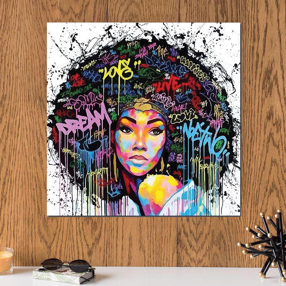 لوحة المرأة الإفريقية خشب ام دي اف مقاس 30x30 سنتيمتر