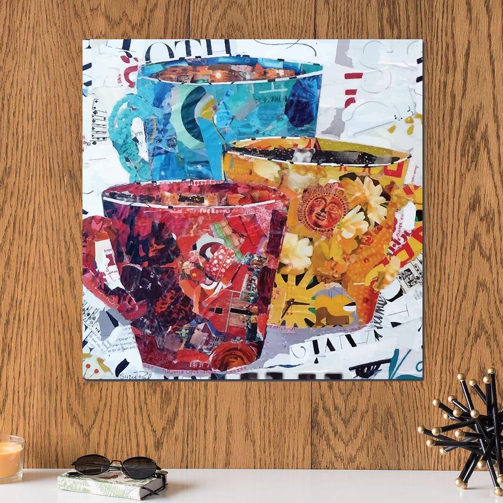 لوحة كاسات ألوان خشب ام دي اف مقاس 30x30 سنتيمتر
