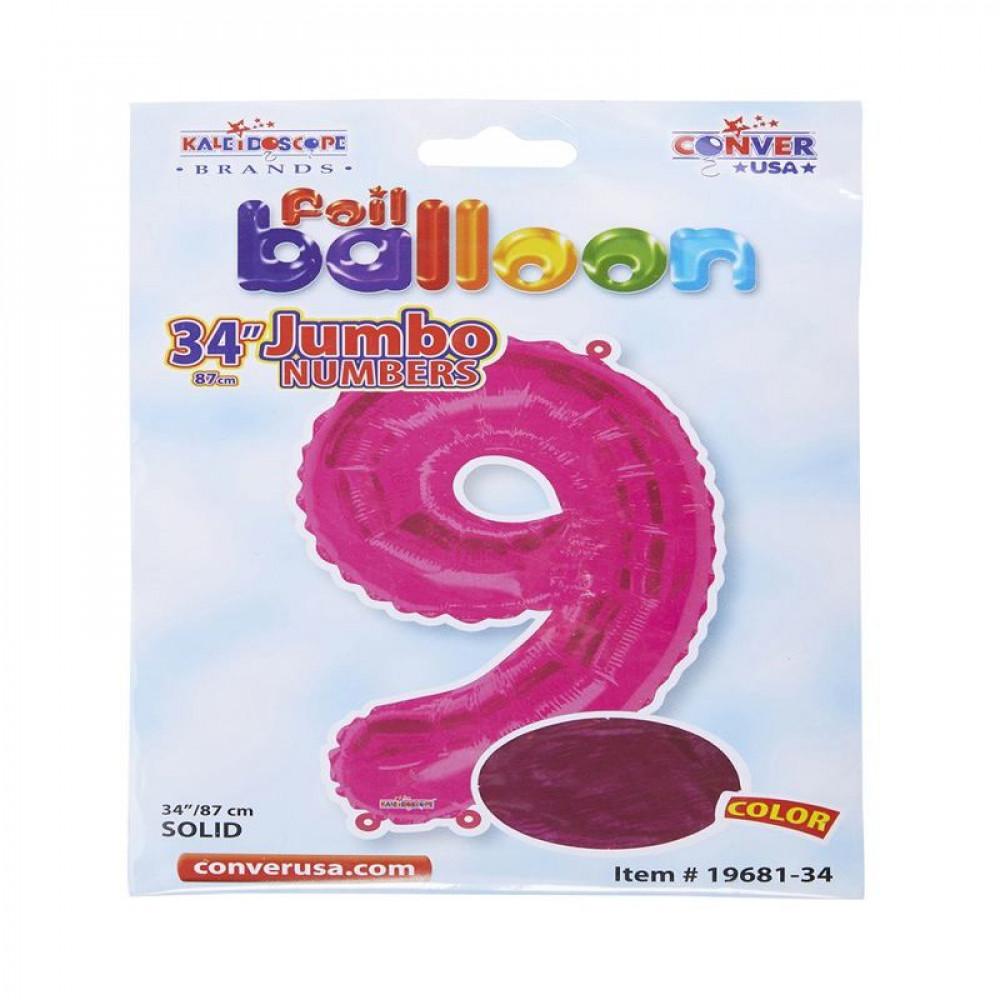 بالون وردي, بالون رقم 9, بلونات أرقام زهرية, Pink Balloon