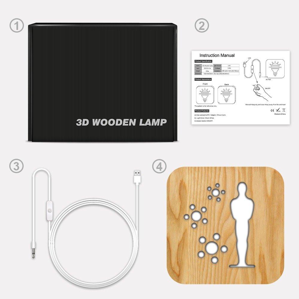 تحفة شكل أوسكار مضيئة خشبية من مواسم طريقة التركيب وتوصيل الإضاءة