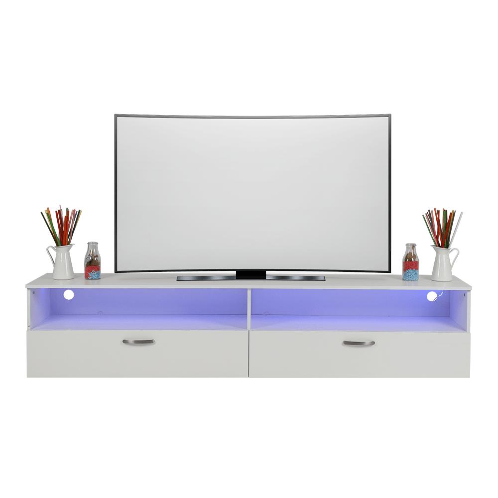 مواسم للأثاث المنزلي وأدوات المطبخ يقدم طاولة تلفاز بتصميم بسيط مضيئة