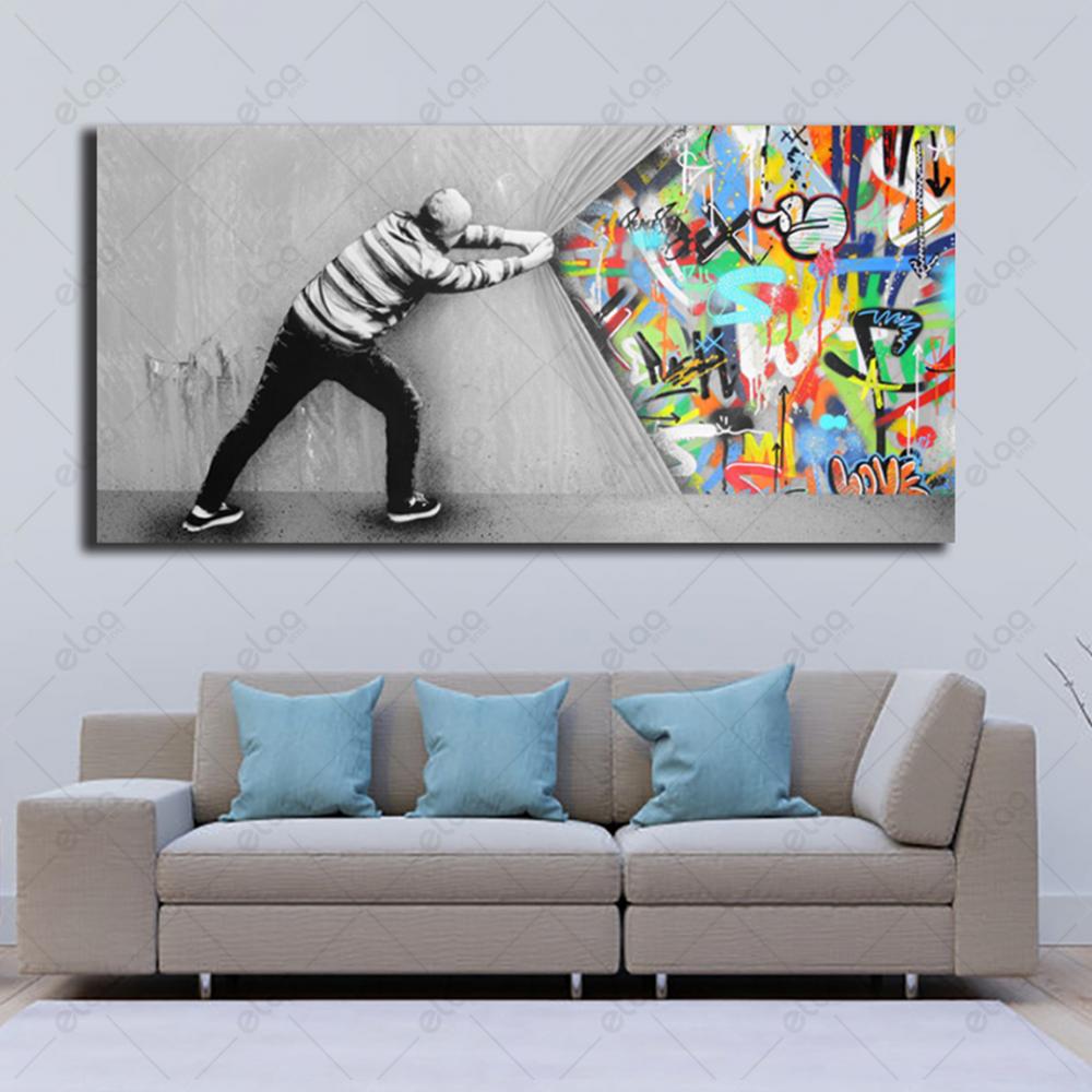 لوحة فنية تحفيزية لرجل ورسومات جدارية