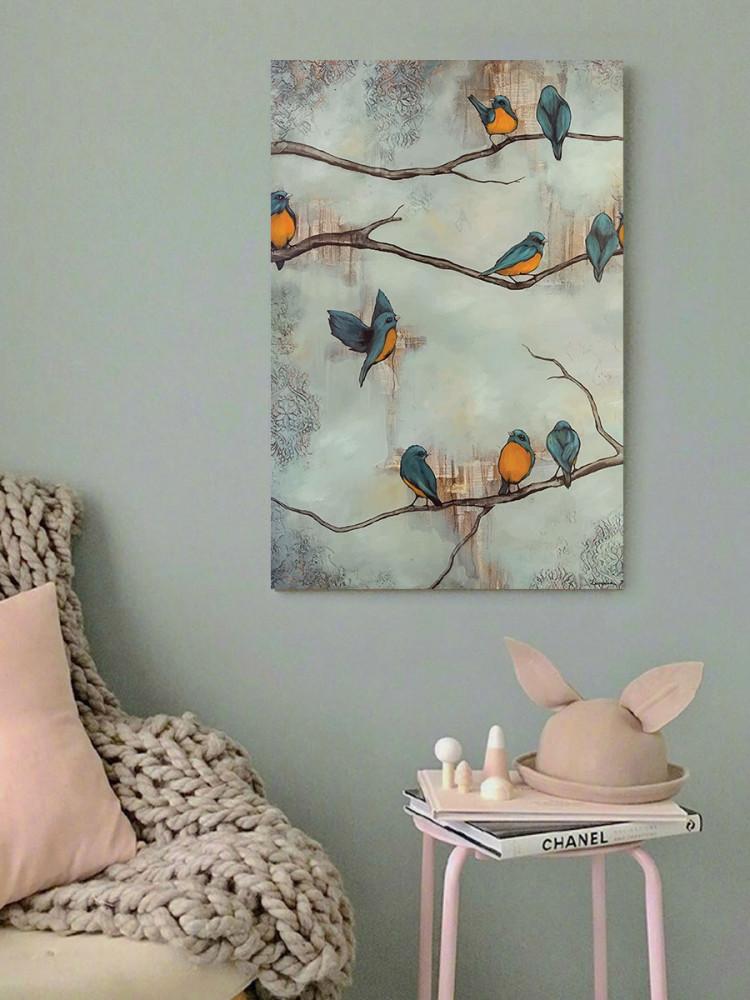لوحة العصافير خشب ام دي اف مقاس 40x60 سنتيمتر