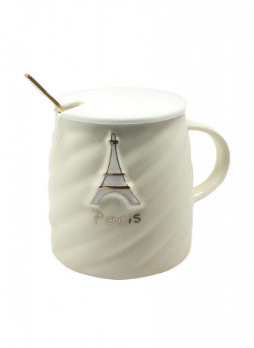 كوب سيراميك للقهوة و الشاي مع ملعقة  و غطاء بيج 10 × 10 × 12 سنتيمتر