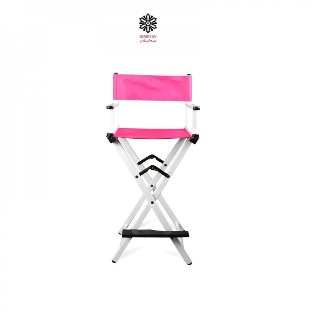 كرسي مكياج متنقل أبيض مع قماش وردي غامق