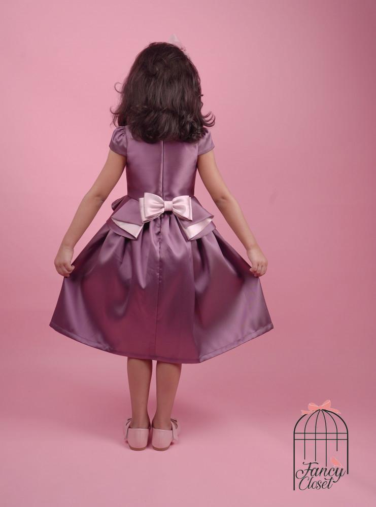 فستان موف ووردي مزين بالورد اطفال