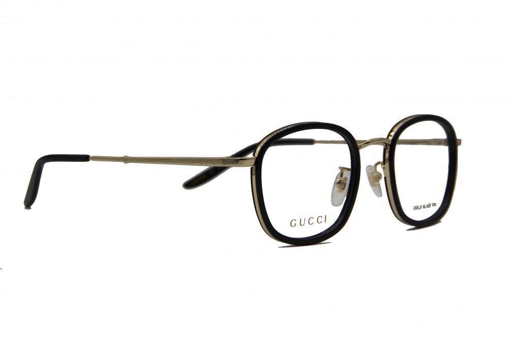 نظارة طبية من ماركة GUCCI بتصميم مربع لون الاطار  اسود و ذهبي