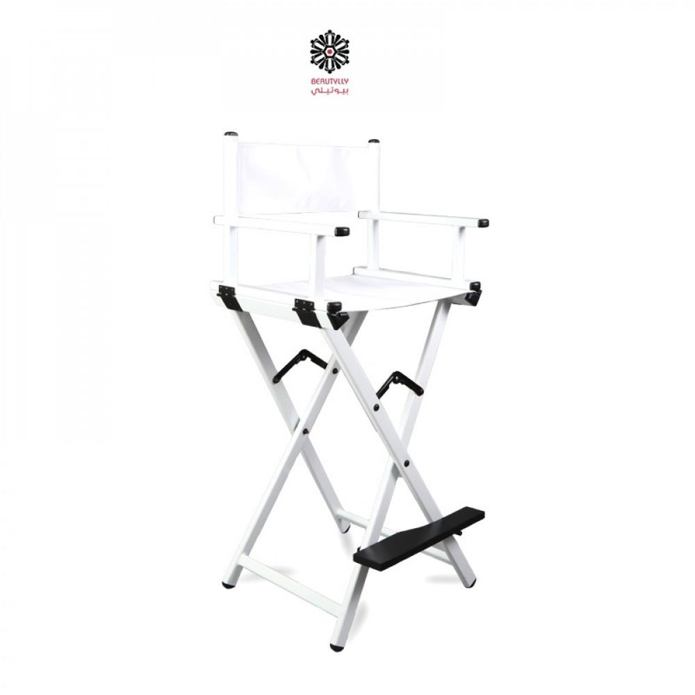 كرسي مكياج متنقل أبيض مع قماش أبيض
