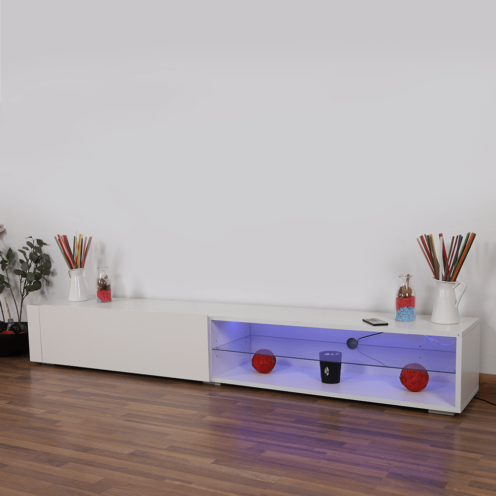 اشتري أفضل طاولة تلفاز خشبية برف زجاجي موديل 2021 من تجارة بلا حدود