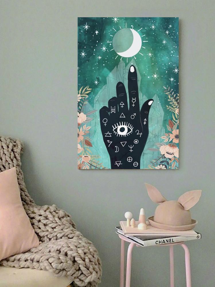لوحة القمر و اليد خشب ام دي اف مقاس 40x60 سنتيمتر